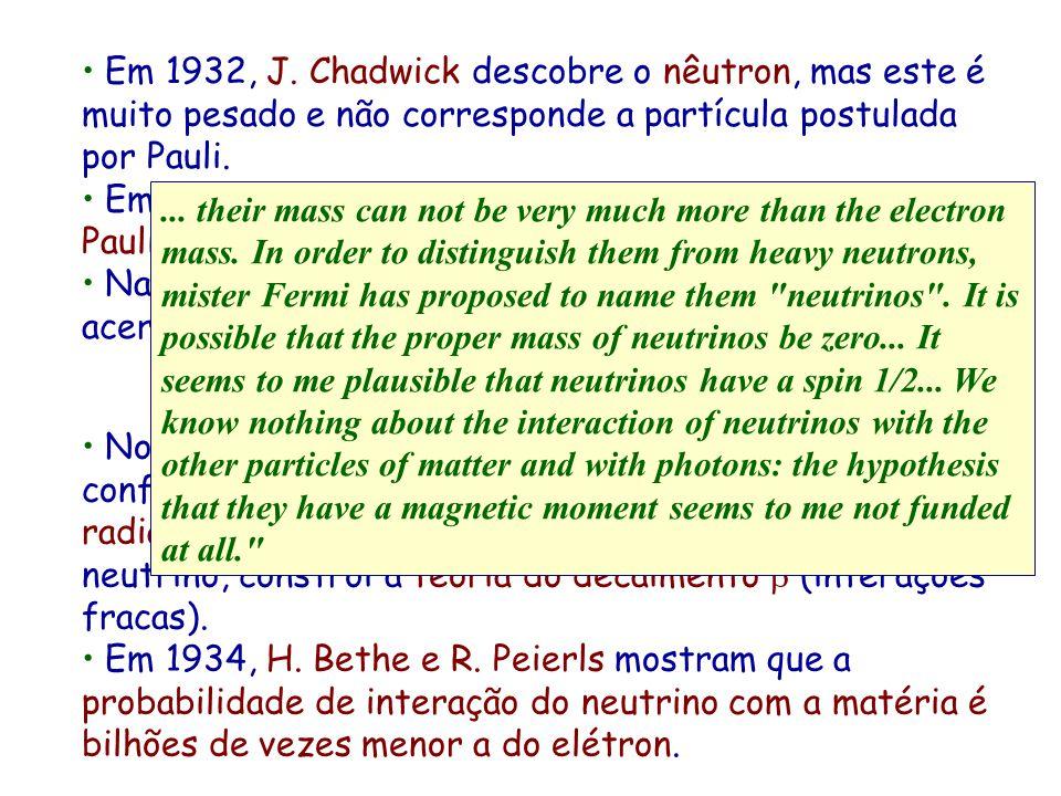 Em 1932, J. Chadwick descobre o nêutron, mas este é muito pesado e não corresponde a partícula postulada por Pauli.