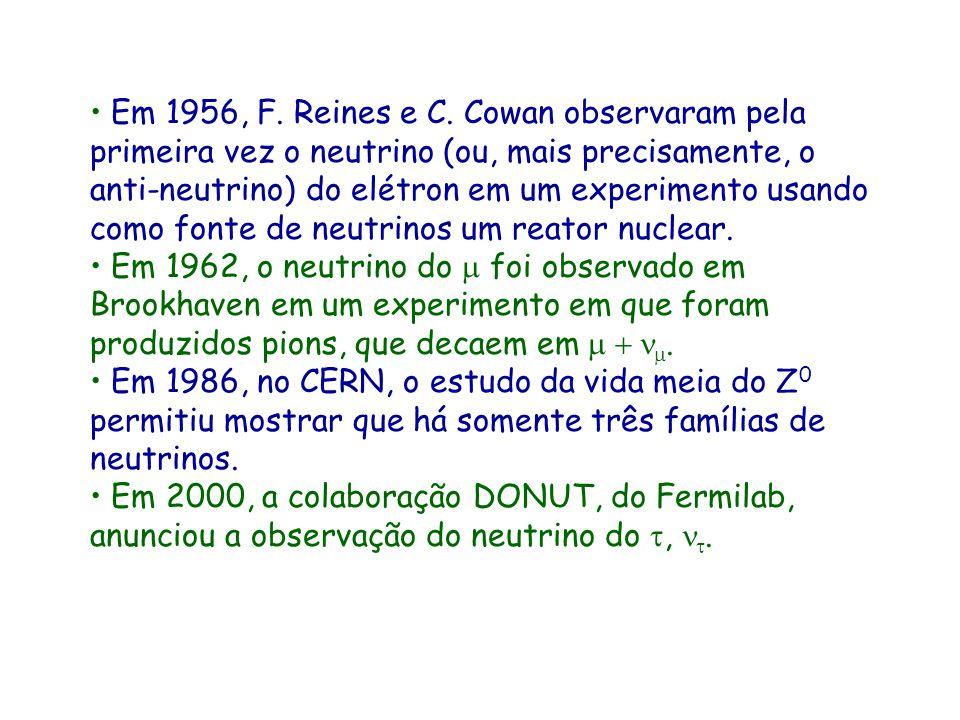 Em 1956, F. Reines e C. Cowan observaram pela primeira vez o neutrino (ou, mais precisamente, o anti-neutrino) do elétron em um experimento usando como fonte de neutrinos um reator nuclear.