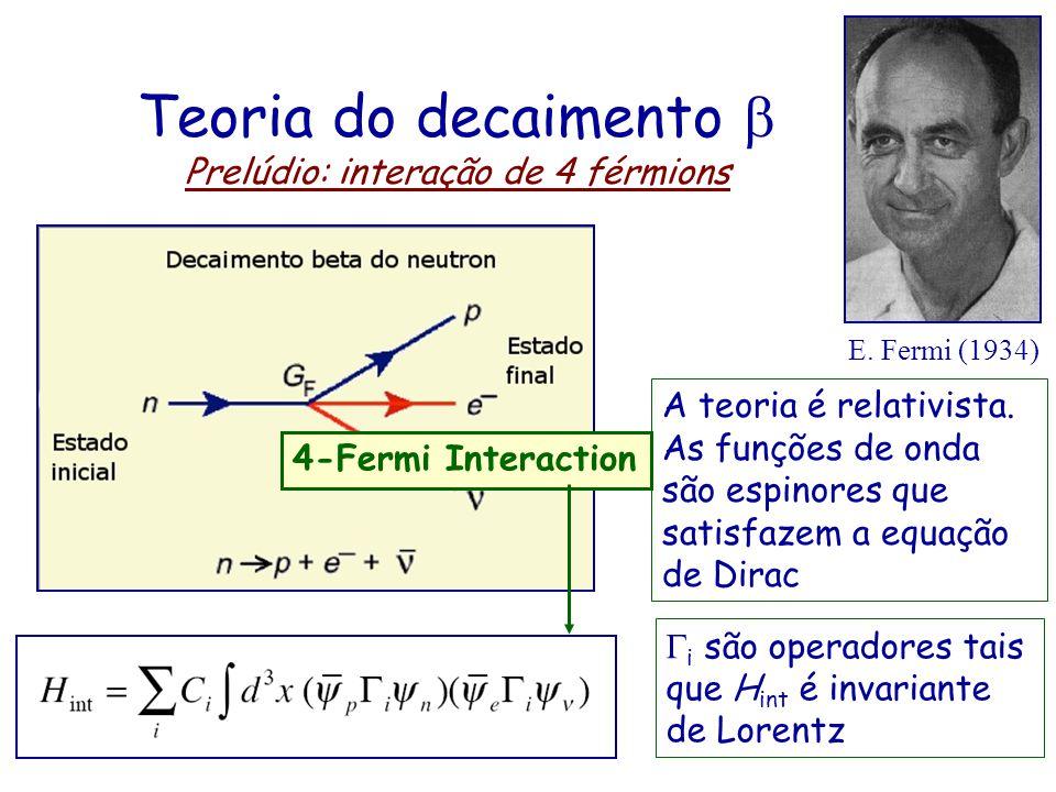 Teoria do decaimento b Prelúdio: interação de 4 férmions