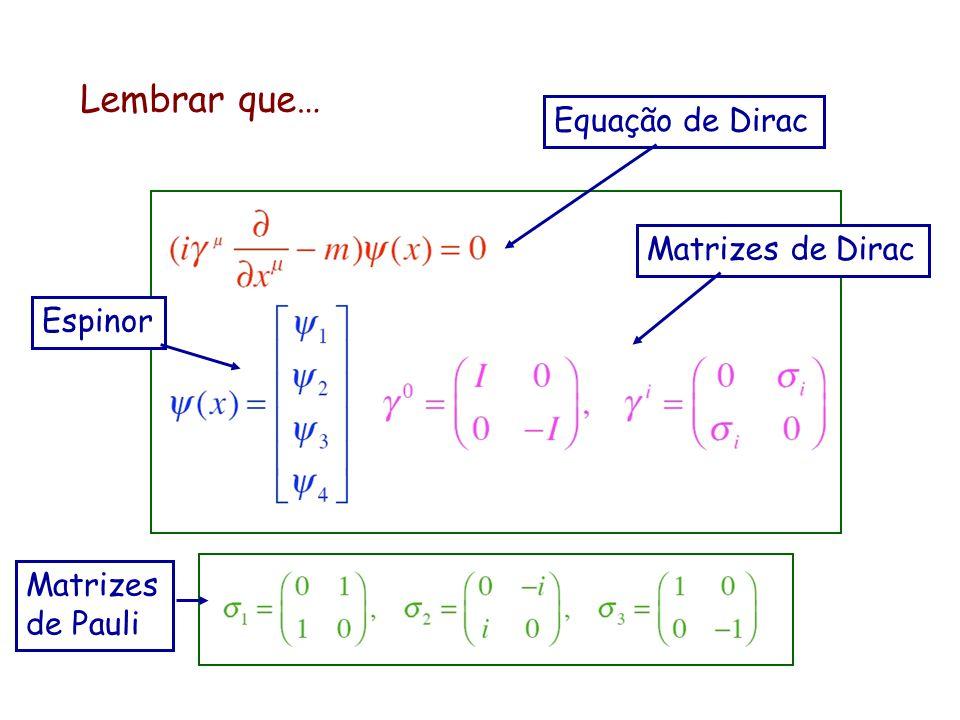 Lembrar que… Equação de Dirac Matrizes de Dirac Espinor Matrizes