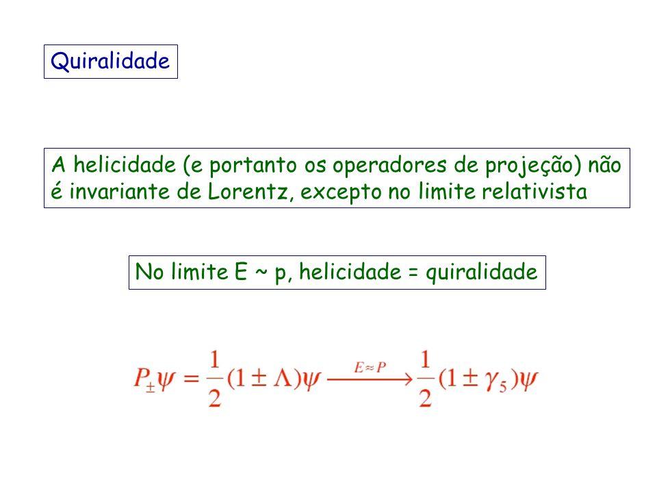 Quiralidade A helicidade (e portanto os operadores de projeção) não é invariante de Lorentz, excepto no limite relativista.