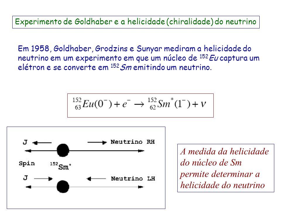Experimento de Goldhaber e a helicidade (chiralidade) do neutrino
