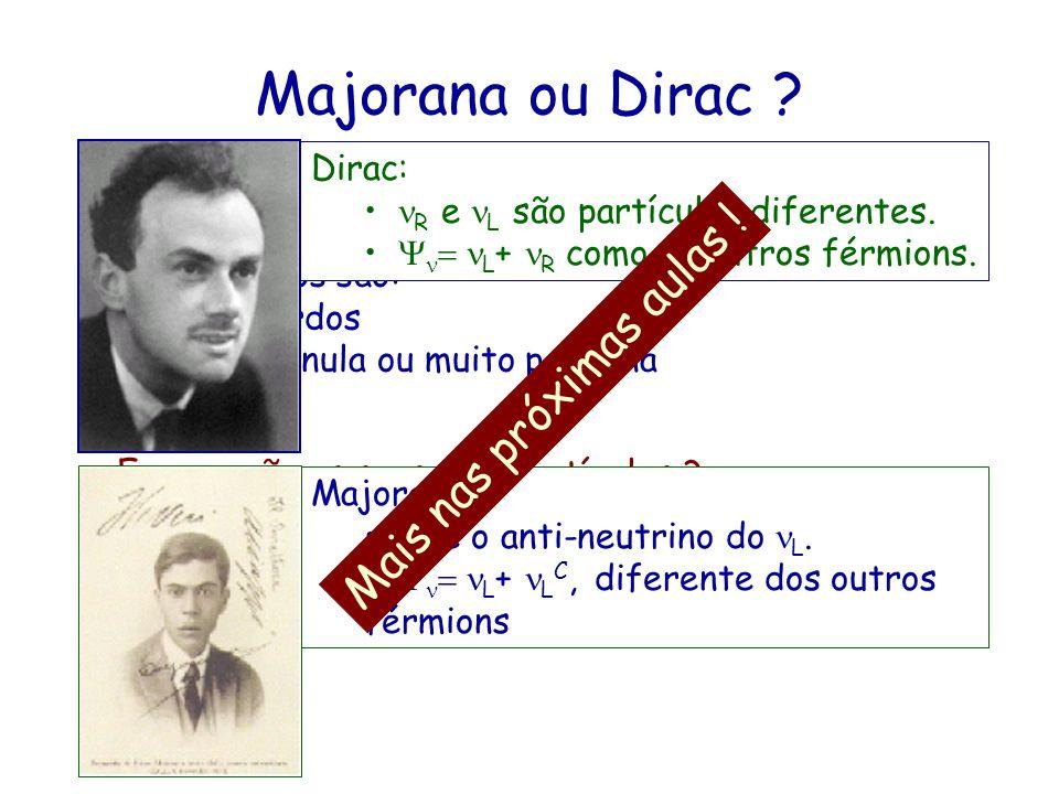 Majorana ou Dirac Mais nas próximas aulas ! Dirac: