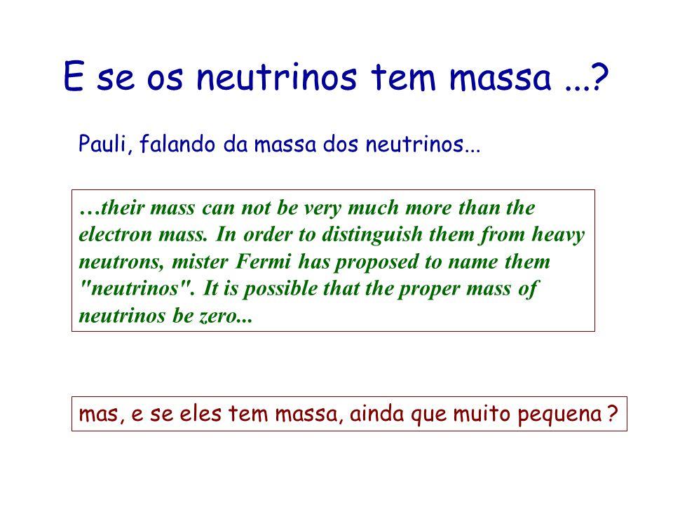 E se os neutrinos tem massa ...