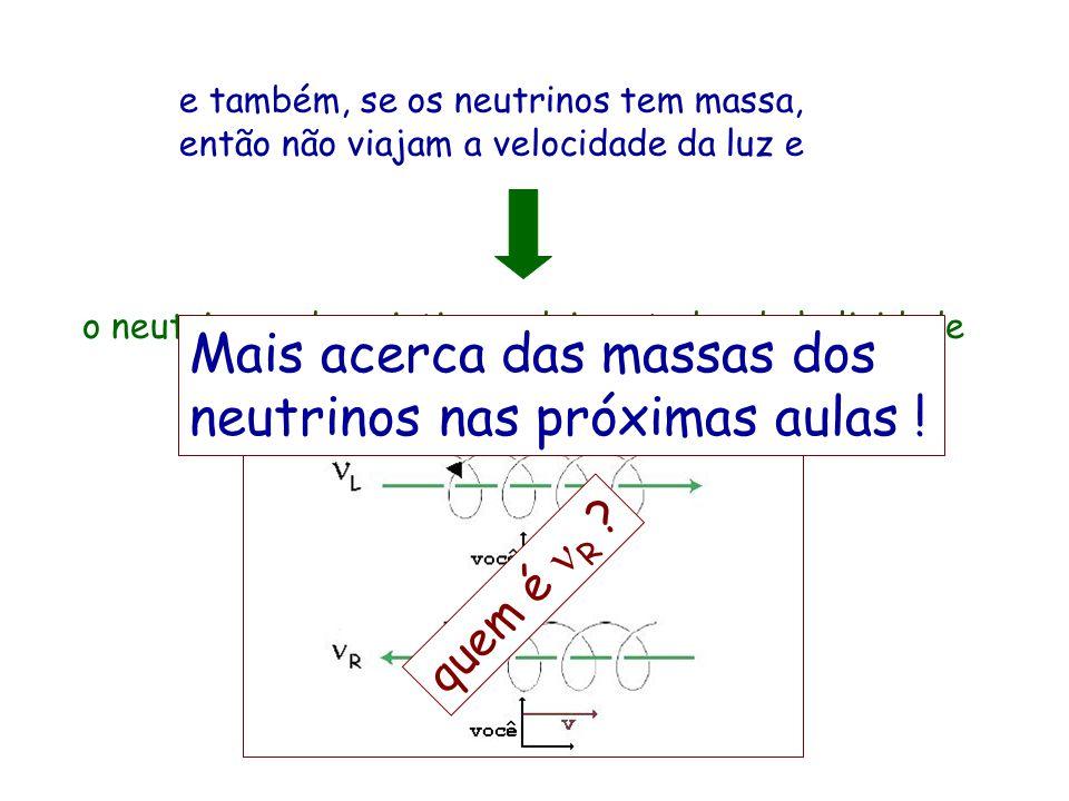 Mais acerca das massas dos neutrinos nas próximas aulas !