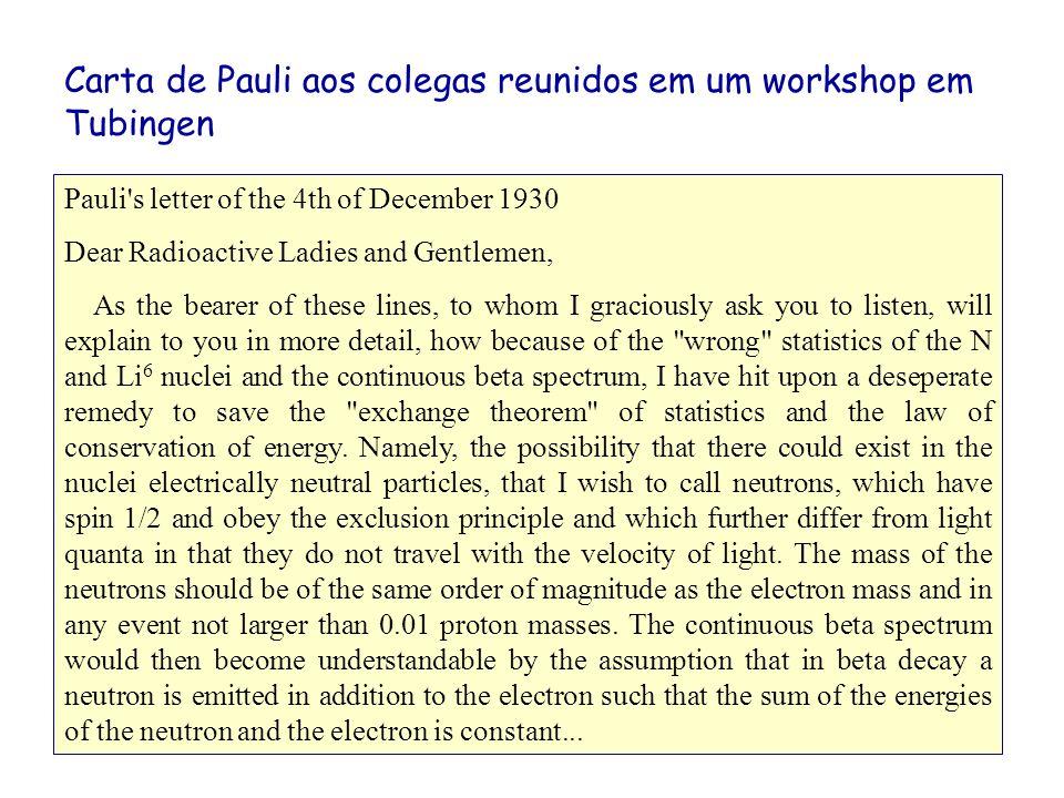 Carta de Pauli aos colegas reunidos em um workshop em Tubingen