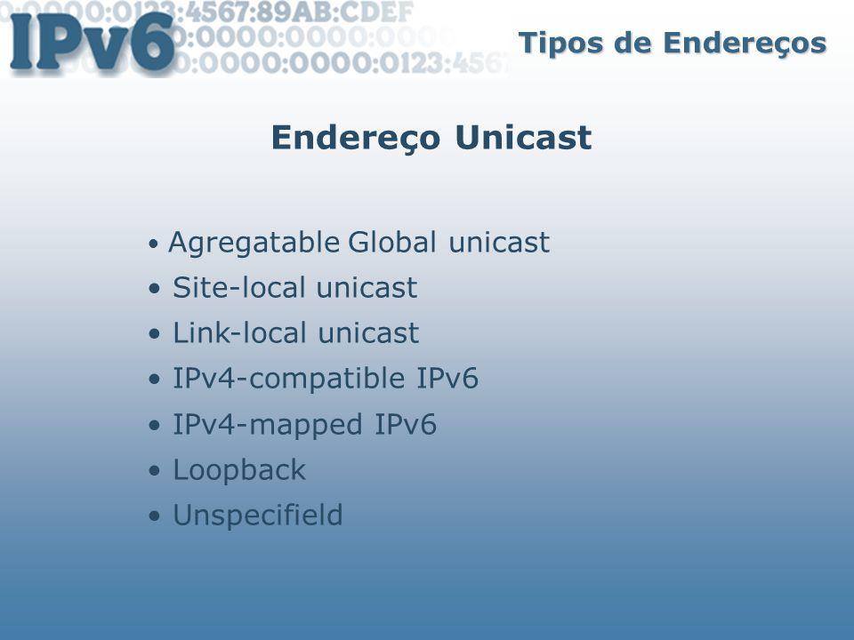 Endereço Unicast Tipos de Endereços • Site-local unicast