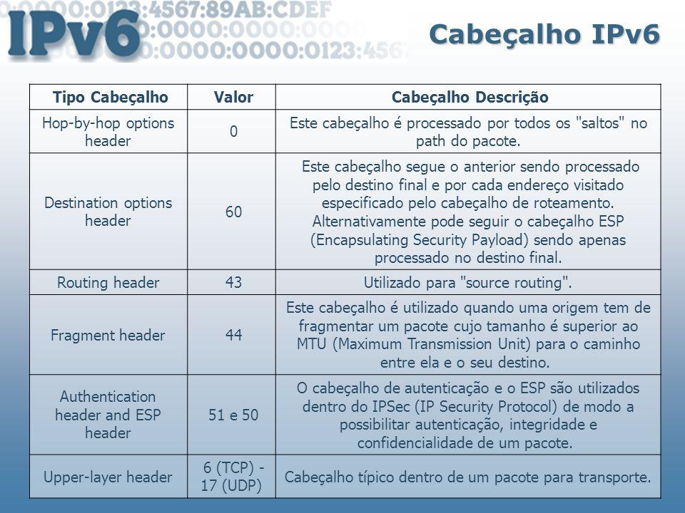 Cabeçalho IPv6 Tipo Cabeçalho Valor Cabeçalho Descrição