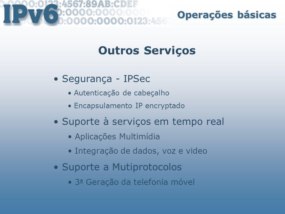 Outros Serviços Operações básicas Segurança - IPSec