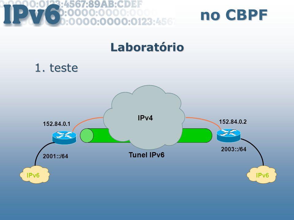 no CBPF Laboratório teste IPv4 Tunel IPv6 IPv6 IPv6 152.84.0.2