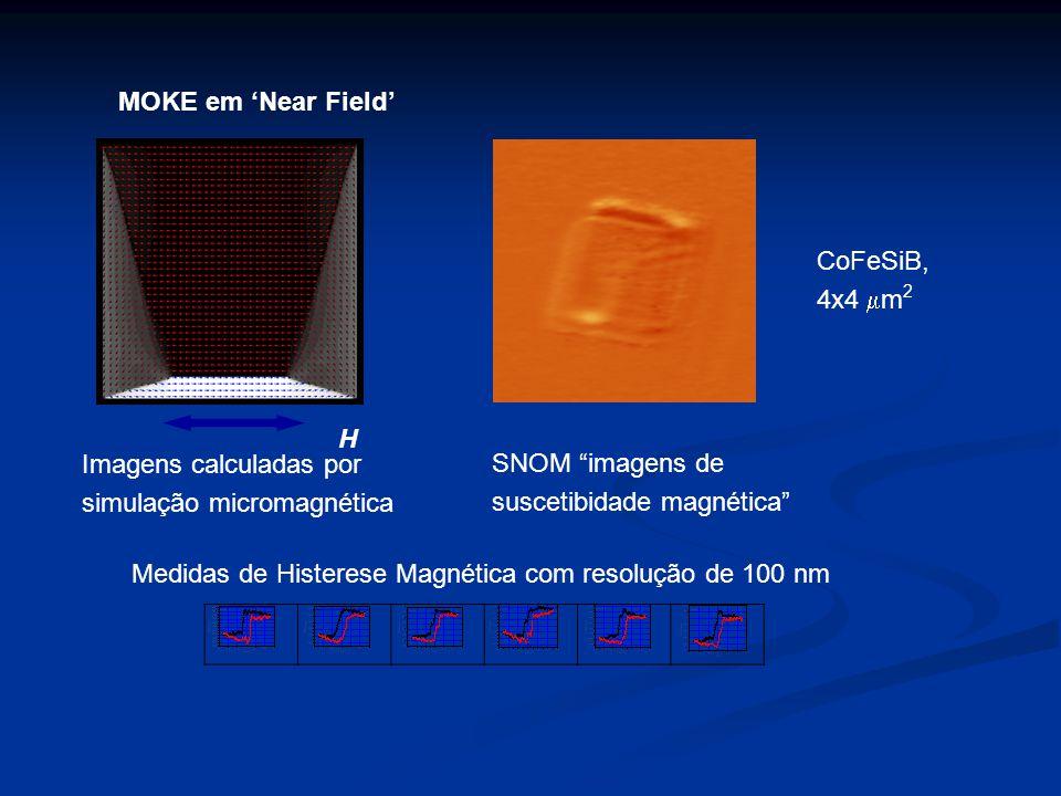 MOKE em 'Near Field' CoFeSiB, 4x4 mm2. H. Imagens calculadas por. simulação micromagnética. SNOM imagens de.