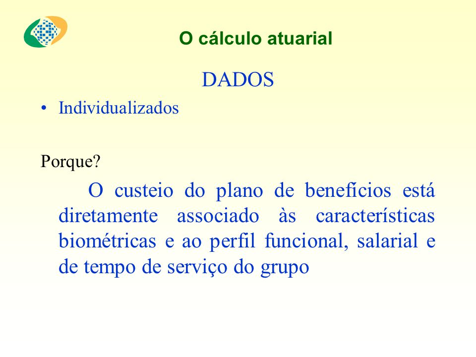 O cálculo atuarial DADOS. Individualizados. Porque
