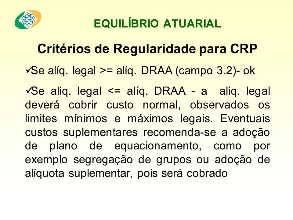 Critérios de Regularidade para CRP