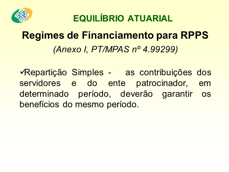 Regimes de Financiamento para RPPS