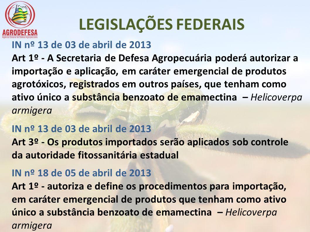 LEGISLAÇÕES FEDERAIS IN nº 13 de 03 de abril de 2013