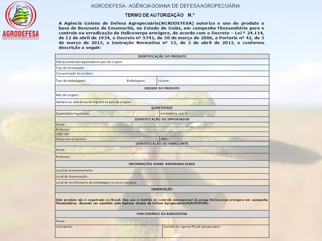 AGRODEFESA - AGÊNCIA GOIANA DE DEFESA AGROPECUÁRIA