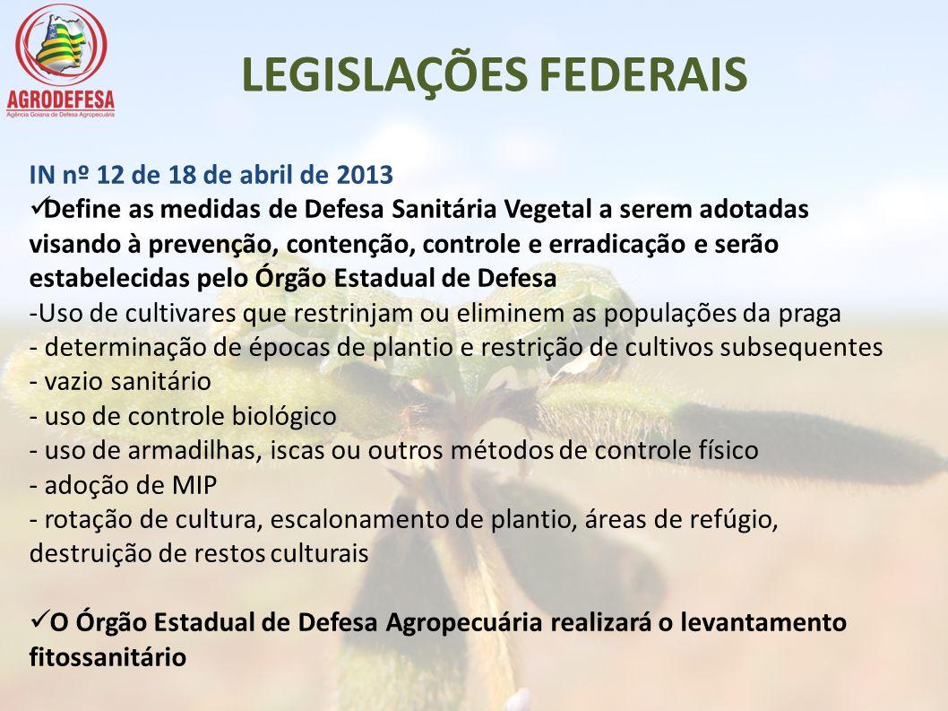 LEGISLAÇÕES FEDERAIS IN nº 12 de 18 de abril de 2013