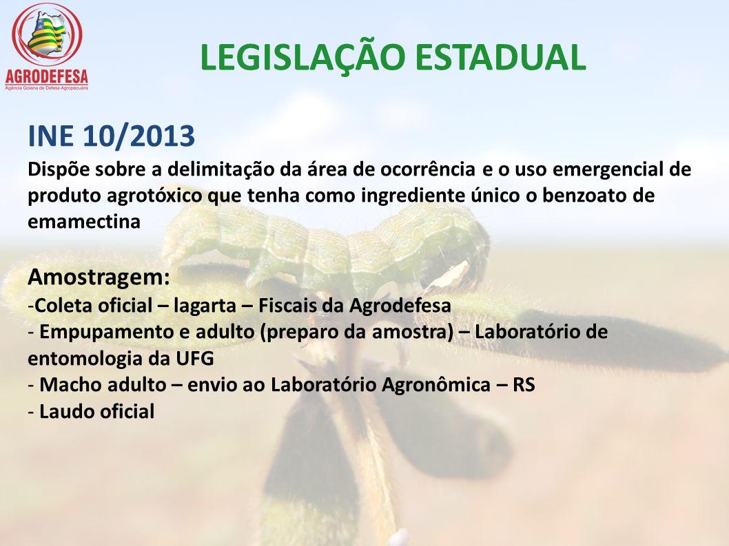 LEGISLAÇÃO ESTADUAL INE 10/2013 Amostragem: