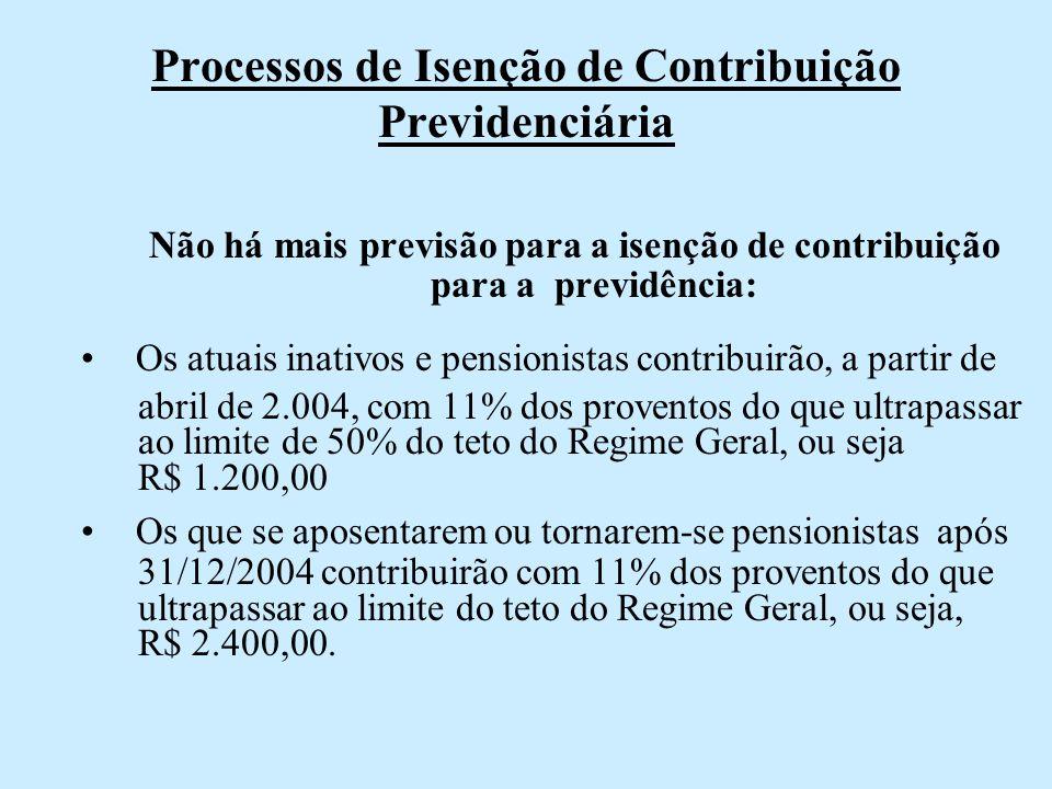 Processos de Isenção de Contribuição Previdenciária
