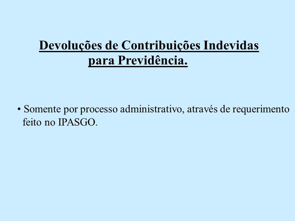 Devoluções de Contribuições Indevidas para Previdência.