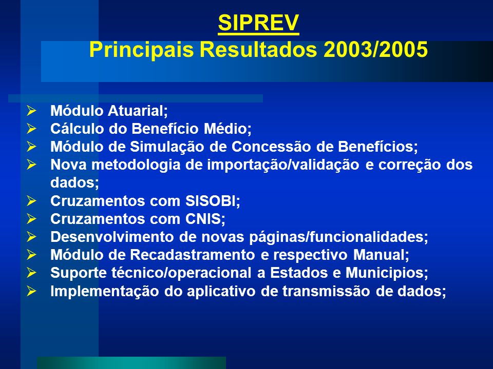 Principais Resultados 2003/2005