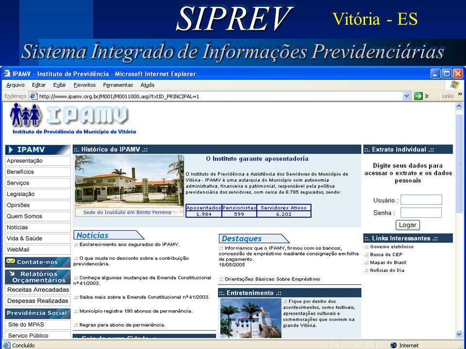 SIPREV Sistema Integrado de Informações Previdenciárias
