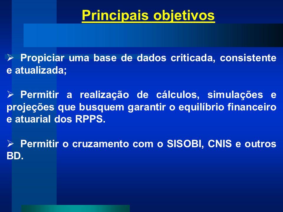 Principais objetivos Propiciar uma base de dados criticada, consistente e atualizada;