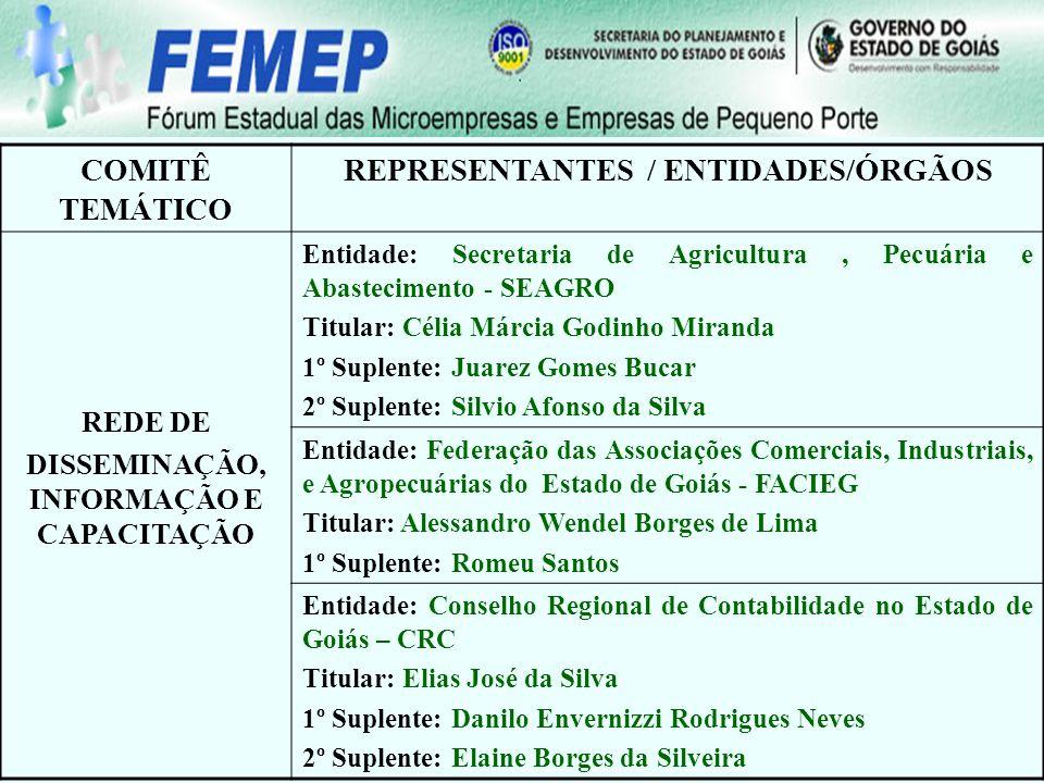 COMITÊ TEMÁTICO REPRESENTANTES / ENTIDADES/ÓRGÃOS