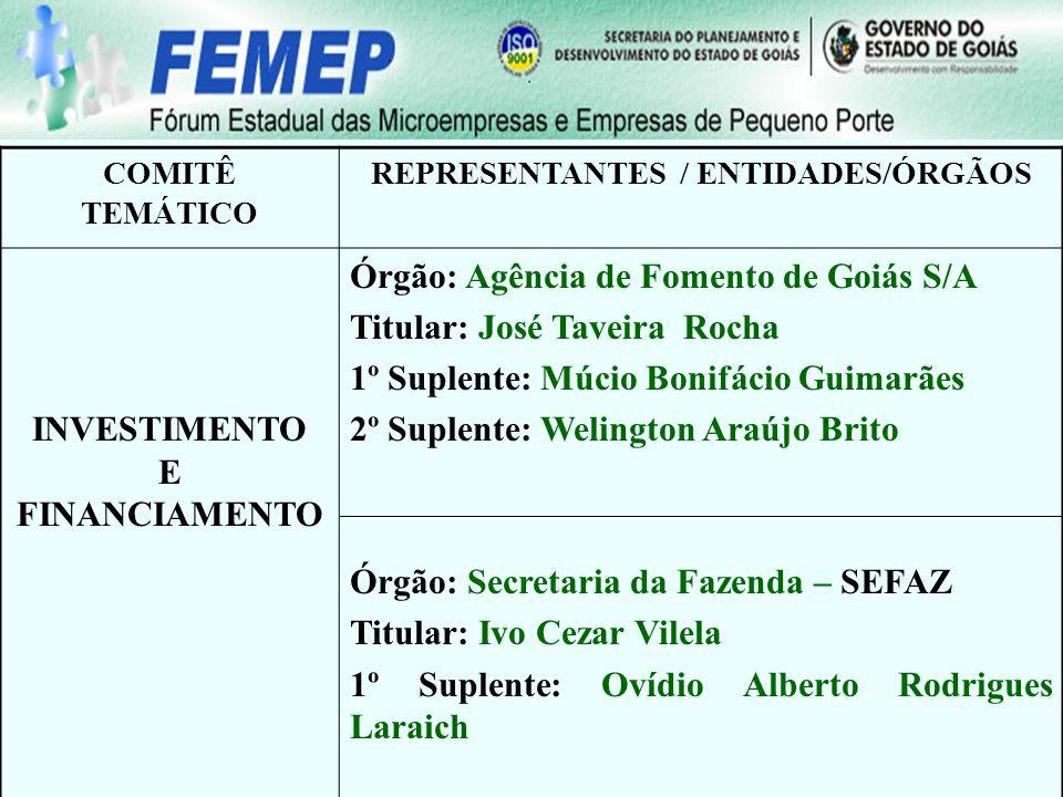 REPRESENTANTES / ENTIDADES/ÓRGÃOS INVESTIMENTO E FINANCIAMENTO