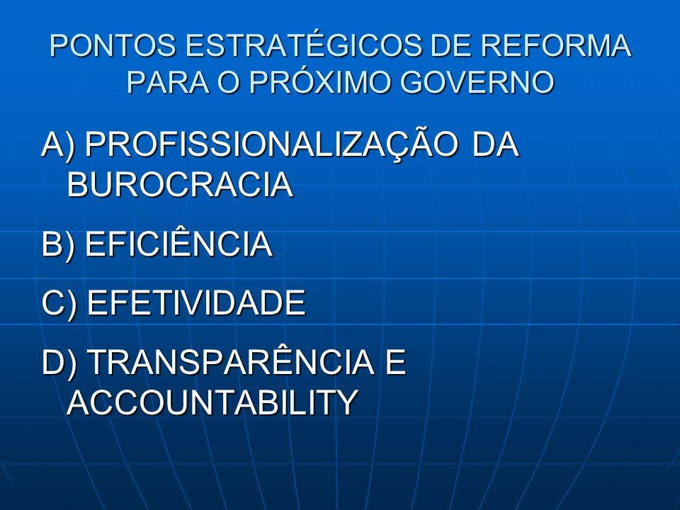 PONTOS ESTRATÉGICOS DE REFORMA PARA O PRÓXIMO GOVERNO