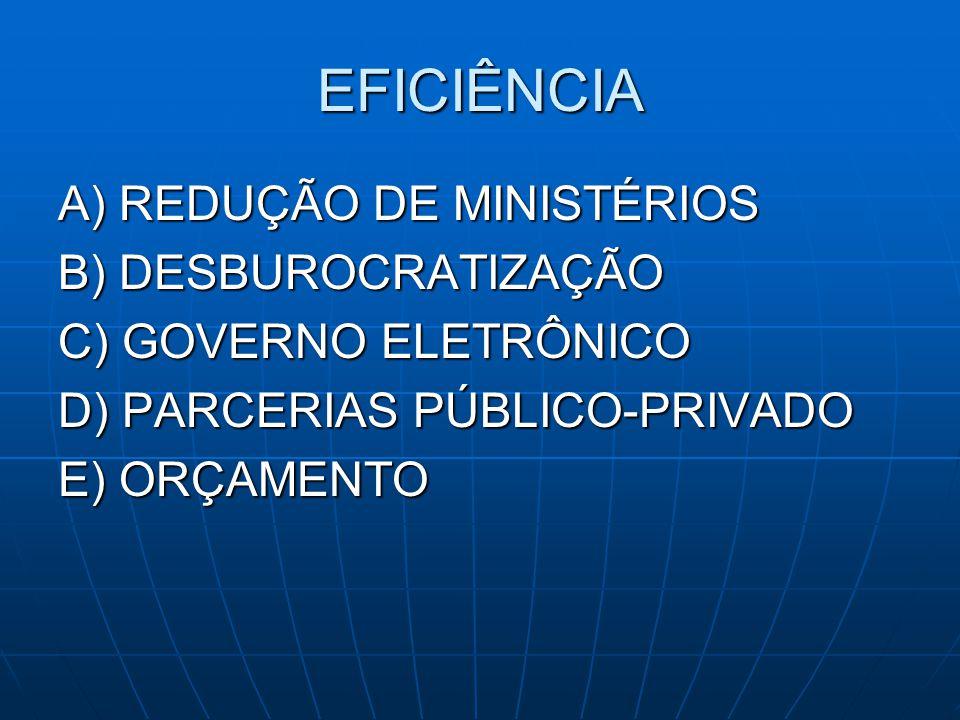 EFICIÊNCIA A) REDUÇÃO DE MINISTÉRIOS B) DESBUROCRATIZAÇÃO