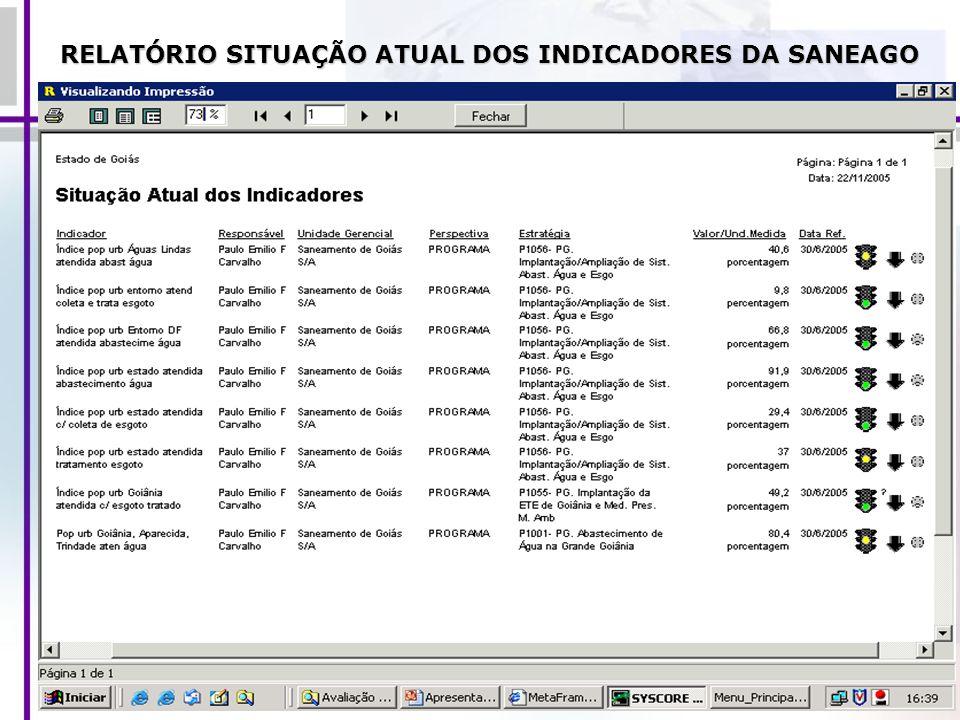 RELATÓRIO SITUAÇÃO ATUAL DOS INDICADORES DA SANEAGO