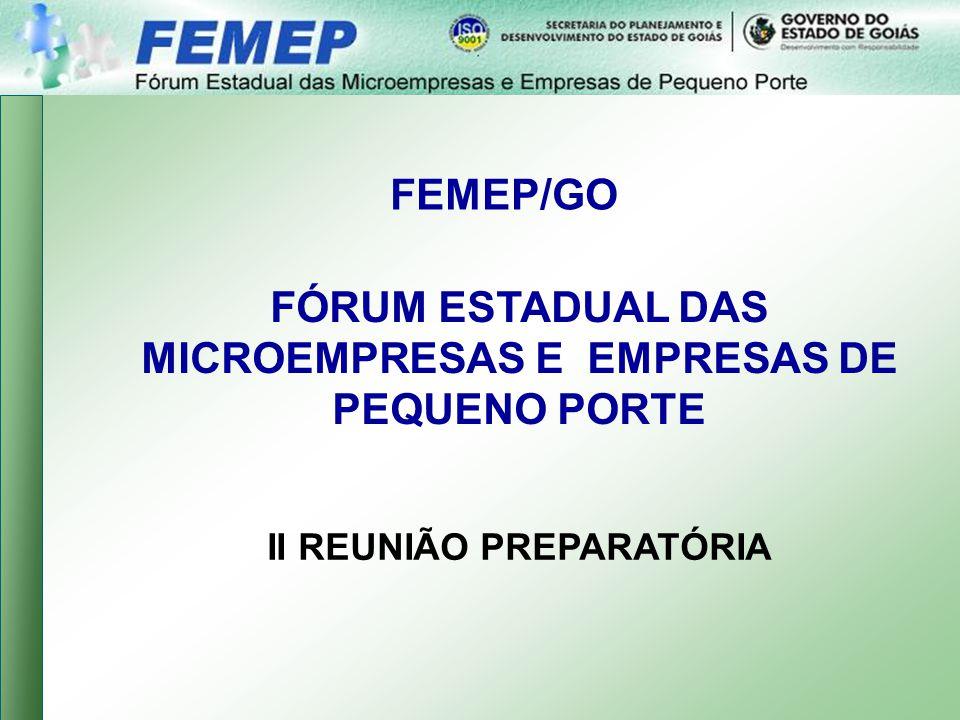 FEMEP/GO FÓRUM ESTADUAL DAS MICROEMPRESAS E EMPRESAS DE PEQUENO PORTE