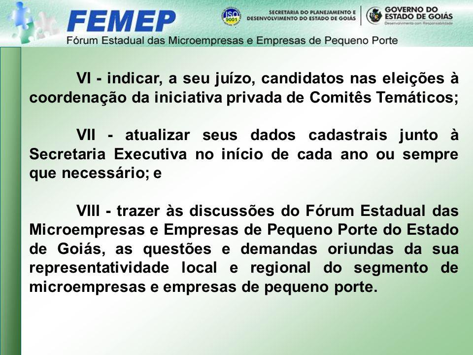 VI - indicar, a seu juízo, candidatos nas eleições à coordenação da iniciativa privada de Comitês Temáticos;