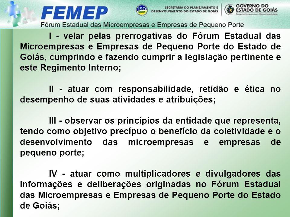I - velar pelas prerrogativas do Fórum Estadual das Microempresas e Empresas de Pequeno Porte do Estado de Goiás, cumprindo e fazendo cumprir a legislação pertinente e este Regimento Interno;