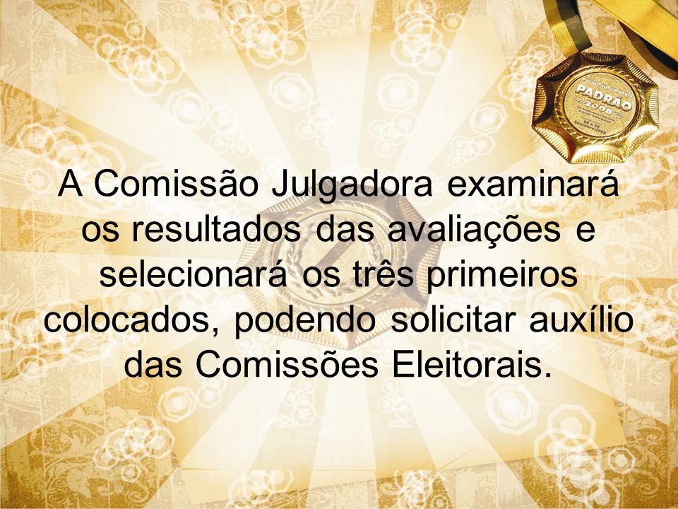 A Comissão Julgadora examinará os resultados das avaliações e selecionará os três primeiros colocados, podendo solicitar auxílio das Comissões Eleitorais.