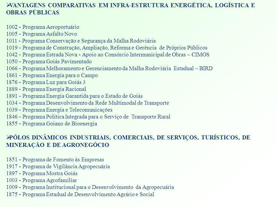 VANTAGENS COMPARATIVAS EM INFRA-ESTRUTURA ENERGÉTICA, LOGÍSTICA E OBRAS PÚBLICAS
