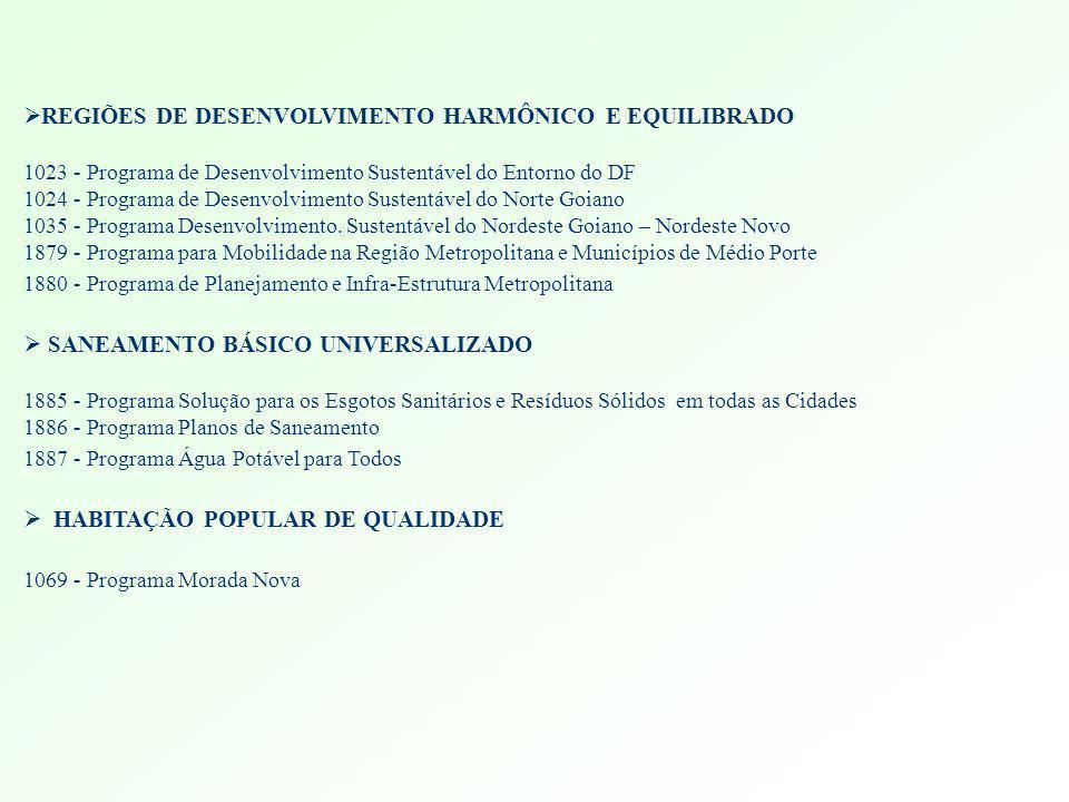 REGIÕES DE DESENVOLVIMENTO HARMÔNICO E EQUILIBRADO