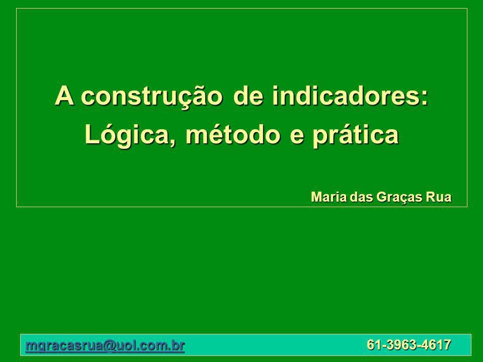 A construção de indicadores: Lógica, método e prática