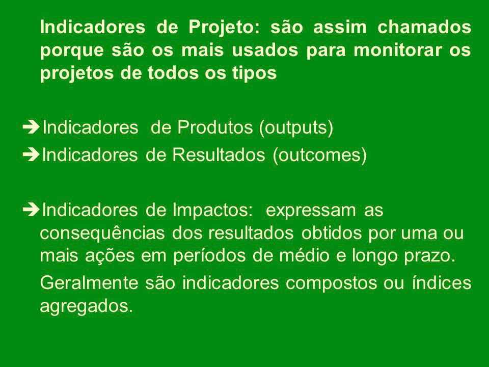 Indicadores de Projeto: são assim chamados porque são os mais usados para monitorar os projetos de todos os tipos
