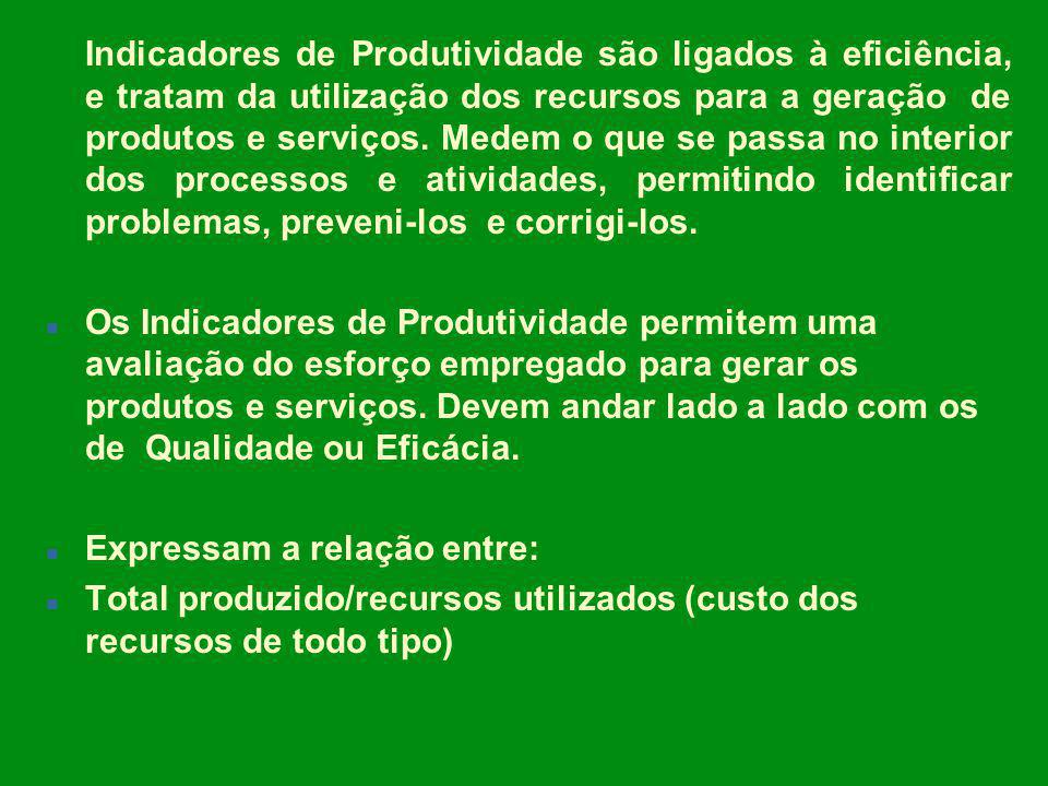 Indicadores de Produtividade são ligados à eficiência, e tratam da utilização dos recursos para a geração de produtos e serviços. Medem o que se passa no interior dos processos e atividades, permitindo identificar problemas, preveni-los e corrigi-los.