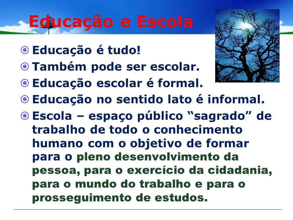 Educação e Escola Educação é tudo! Também pode ser escolar.