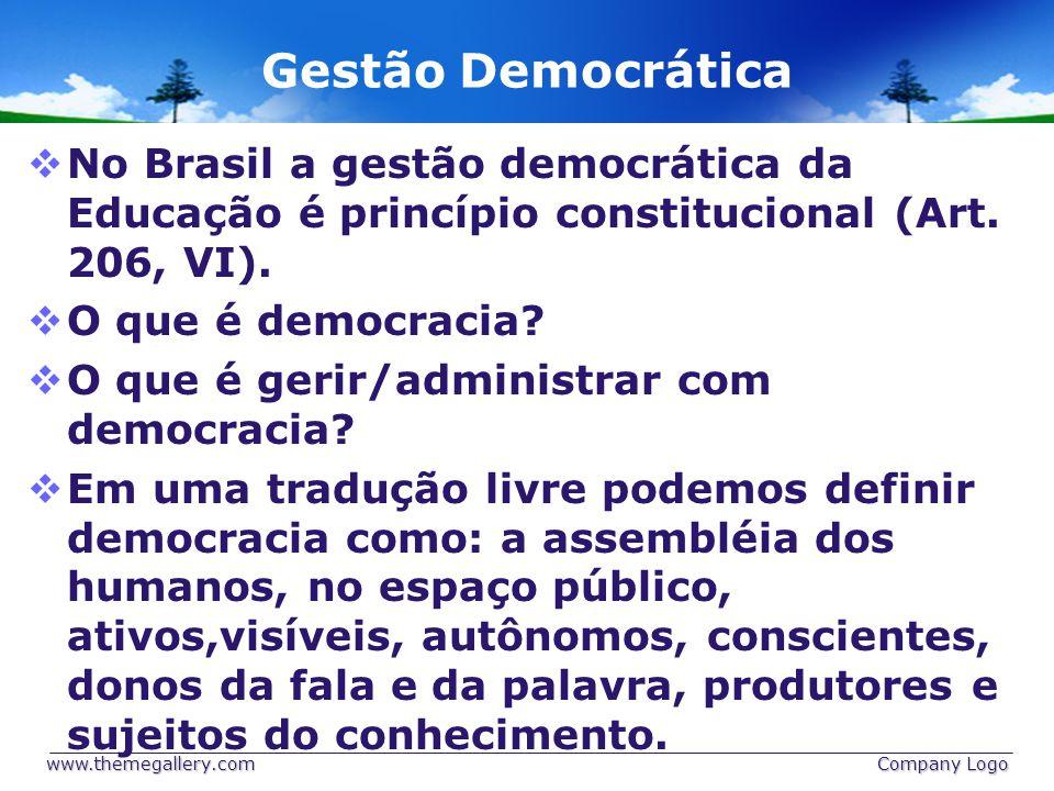 Gestão Democrática No Brasil a gestão democrática da Educação é princípio constitucional (Art. 206, VI).