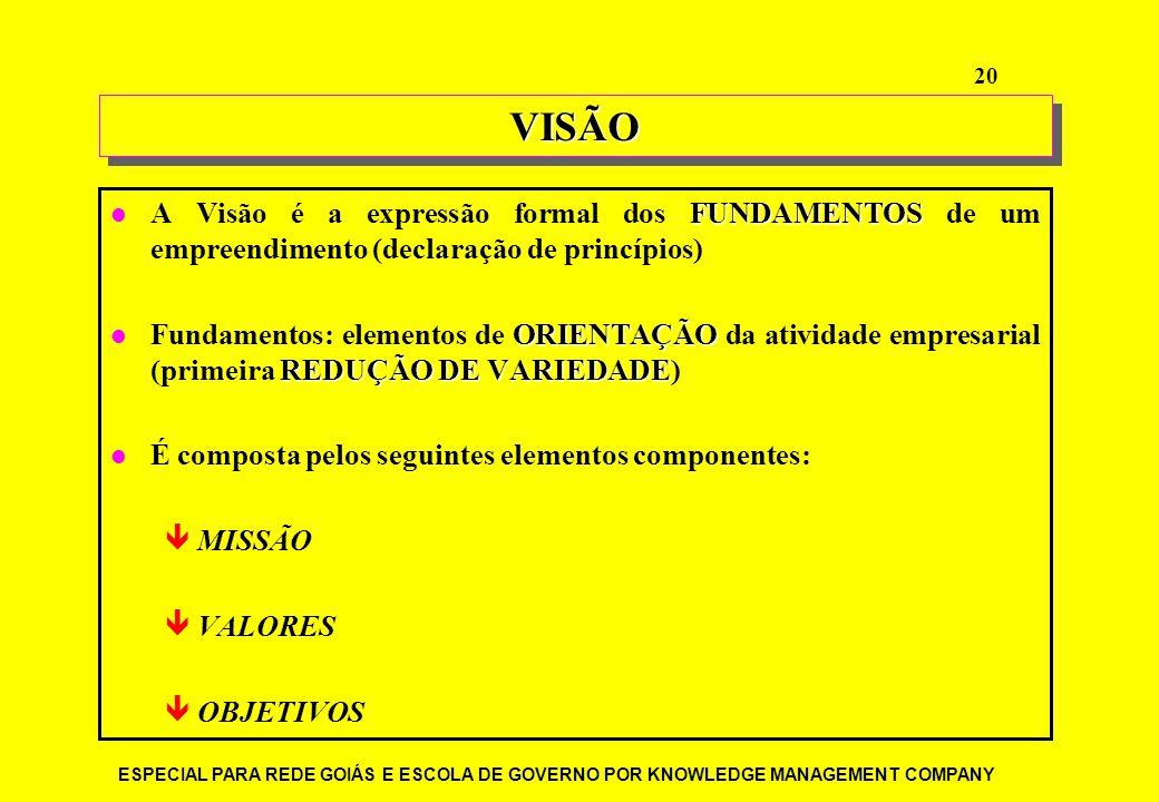 VISÃO A Visão é a expressão formal dos FUNDAMENTOS de um empreendimento (declaração de princípios)