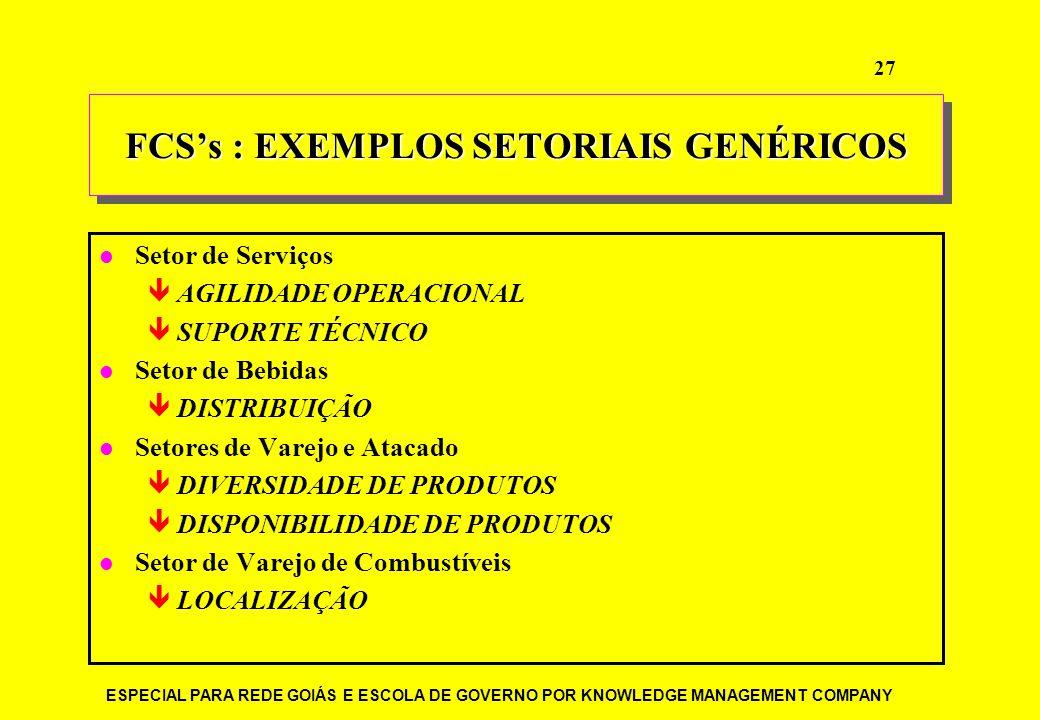 FCS's : EXEMPLOS SETORIAIS GENÉRICOS