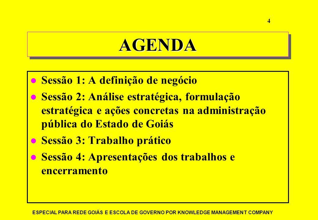 AGENDA Sessão 1: A definição de negócio