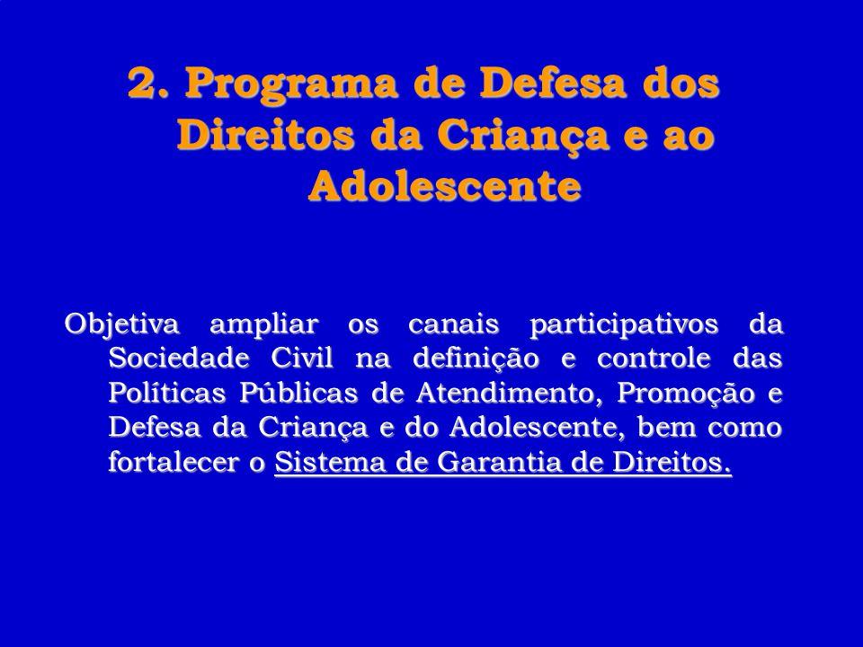 2. Programa de Defesa dos Direitos da Criança e ao Adolescente