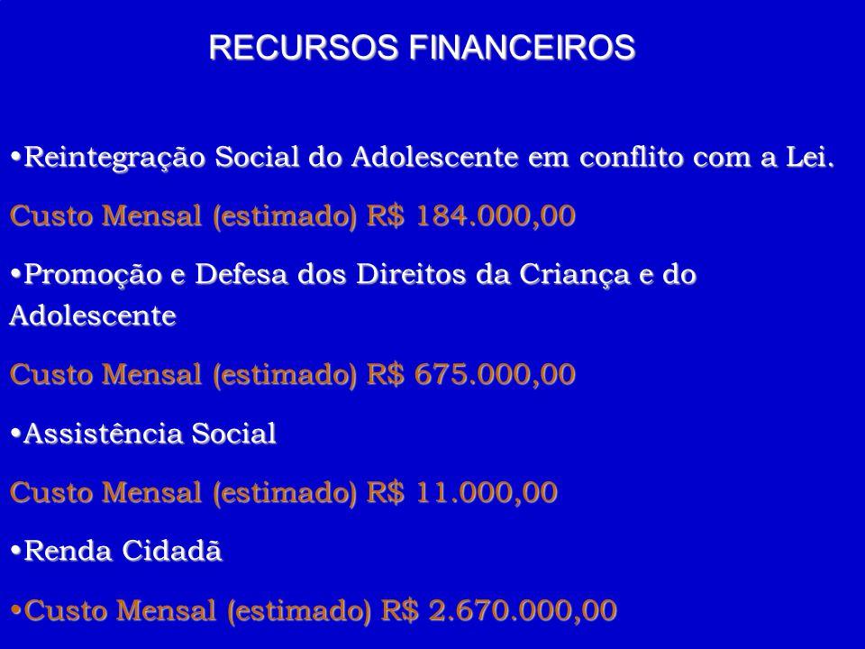 RECURSOS FINANCEIROS Reintegração Social do Adolescente em conflito com a Lei. Custo Mensal (estimado) R$ 184.000,00.
