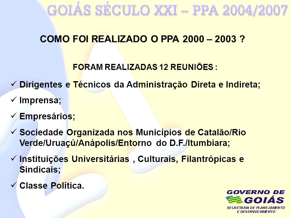 COMO FOI REALIZADO O PPA 2000 – 2003 FORAM REALIZADAS 12 REUNIÕES :