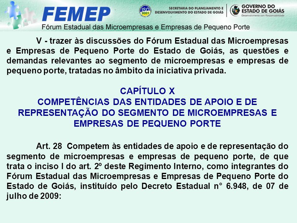 V - trazer às discussões do Fórum Estadual das Microempresas e Empresas de Pequeno Porte do Estado de Goiás, as questões e demandas relevantes ao segmento de microempresas e empresas de pequeno porte, tratadas no âmbito da iniciativa privada.
